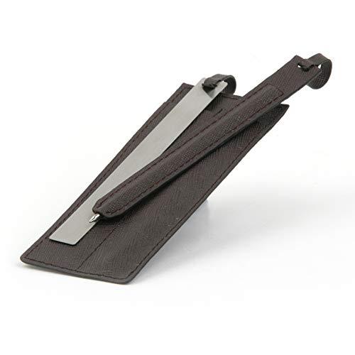 Mopec set met balpen en liniaal in lederlook, 10 stuks, bruin, 0,20 x 5,00 x 13,00 cm