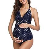 Traje de baño de Maternidad Verano Mae triángulo Halter Bikini Punto Azul Large