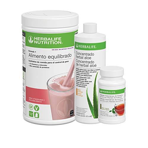 Pack AHORRO 3 productos Control de Peso Herbalife. Desayuno nutritivo con complementos alimenticios ricos en proteínas (Frambuesa SIN AZUCAR 500 gr)