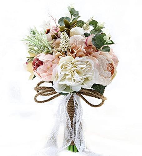 QIEP Ramo de boda vintage estilo campestre artificial mutiple sedoso mano flor novia ramo de novia dama de honor decoración de boda ramos
