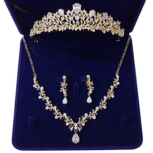 COMEYER - Collar de circonita de Cristal Nupcial para Boda, Pendientes Colgantes, Corona, Tiara, Conjunto de Joyas con Caja de Regalo (Plata/Oro)