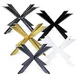 Magnetic Mobel Tischgestell Atal Tischbeine Kreuzgestell Tischkufen Stahl Metall Esstisch Schreibtisch Konferenztisch (Schwarz, 120x120 cm)