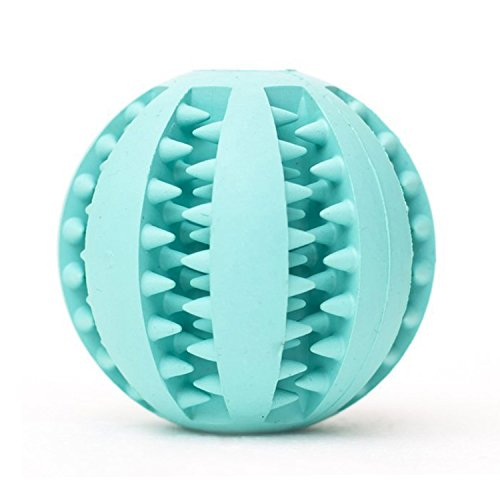 Pet Dog Toy Ball. Nature Rubber Bouncy Toy Ball for Dogs. Dog Food Treat Feeder Tooth Cleaning Ball for Pet Training/ Playing/ Chewing - Bite Resistant Pet Exercise Game Ball (Blue)