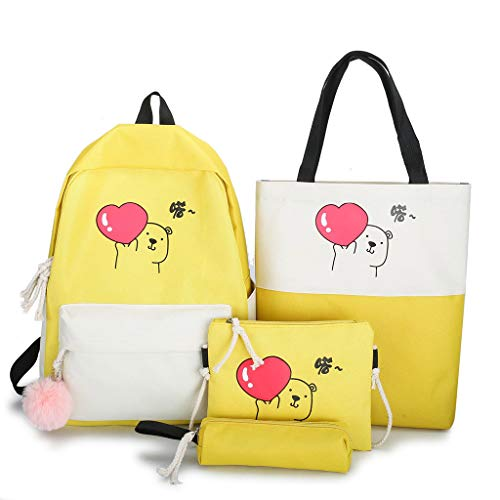 Mochila casual personalizada de moda, 4 piezas, bonita mochila de lona, mochila para estudiantes de escuela, bolsa de hombro, estuche para lápices para niñas y mujeres