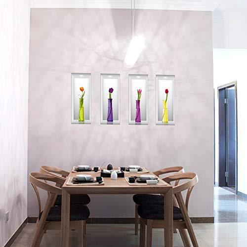 Qingany muurstickers, zelfklevend, modern, 3D-effect, simulatie, bloemen, muurstickers, creatief, oogjes, bloemen, vaas, slaapkamer, decoratie, sticker, woonkamer, kunst