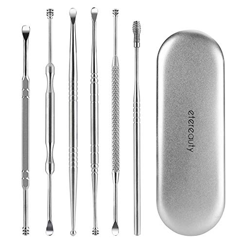 ETEREAUTY 6pcs Ear Pick Ear Curette Earwax Removal with Storage Box