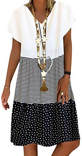 Sommerkleid Damen V-Ausschnitt Strandkleider Kurzarm A-Linie Patchwork Freizeitkleid MiniKleid Kleid (Schwarz, X-Large)