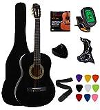 Vizcaya 38' Black Beginner Left-Handed Acoustic Guitar Starter Package Student Guitar with Gig Bag,Strap, picks, Extra Strings, Electronic Tuner -Black Left-Handed