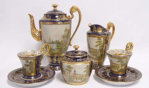 Casa Padrino Barock Kaffeeservice Blau/Gold/Mehrfarbig H. 22 cm - Edles Porzellan Geschirr