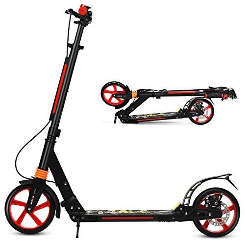 DREAMADE Aluminium Scooter mit 200mm PU Rädern, Kickscooter City Roller mit Doppelfederung & Tragegurt, Höhenverstellbarer Tretroller für Erwachsene Jugendliche Kinder ab 8 Jahre (Schwarz)