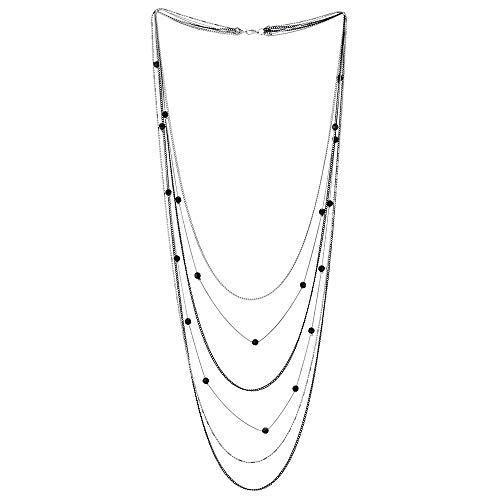 iMETACLII Silber Schwarz Statement Halskette Wasserfall Multi-Schichten Lange Kette mit Kristall Perlen Charme Anhänger, Partei