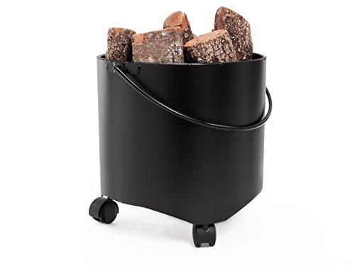 PURLINE EFP15 Cubo porta leña con ruedas fabricado en acero
