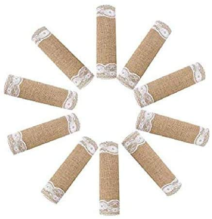 widesmile 10 Pack Burlap and Lace Table Runner Vintage Natural Jute Hessian Burlap Table Runner for Wedding Party Birthday Engagement Hotel Home Décor