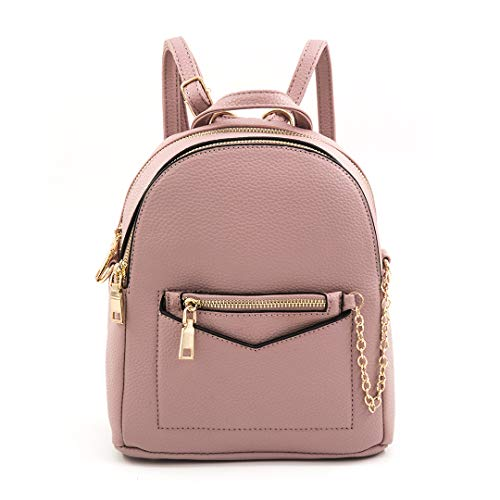 EMPERIA Kayli Faux Leather Mini Fashion 3 Way Carry Backpack Casual Lightweight Rucksack Daypack for women Mauve