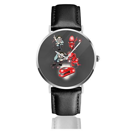 Unisex Business Casual Miltons Revenge Office Space Watches Quarz Leder Armbanduhr mit schwarzem Lederband für Herren Damen Young Collection Geschenk