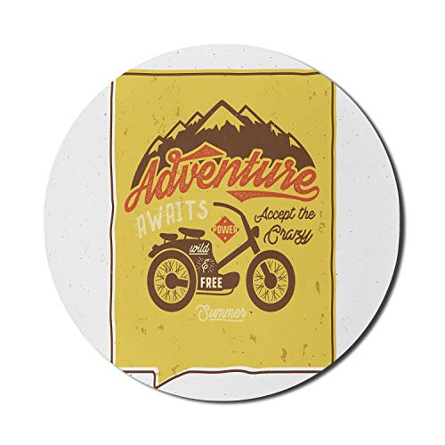 Ambesonne Saying Mouse Pad for Computers, Retro Poster with Wild and Free Words Motorbike Mountains Summer Graphic, Round Non-Slip Thick Rubber Modern Gaming Mousepad, 8' x 8', Mustard Brown and Red
