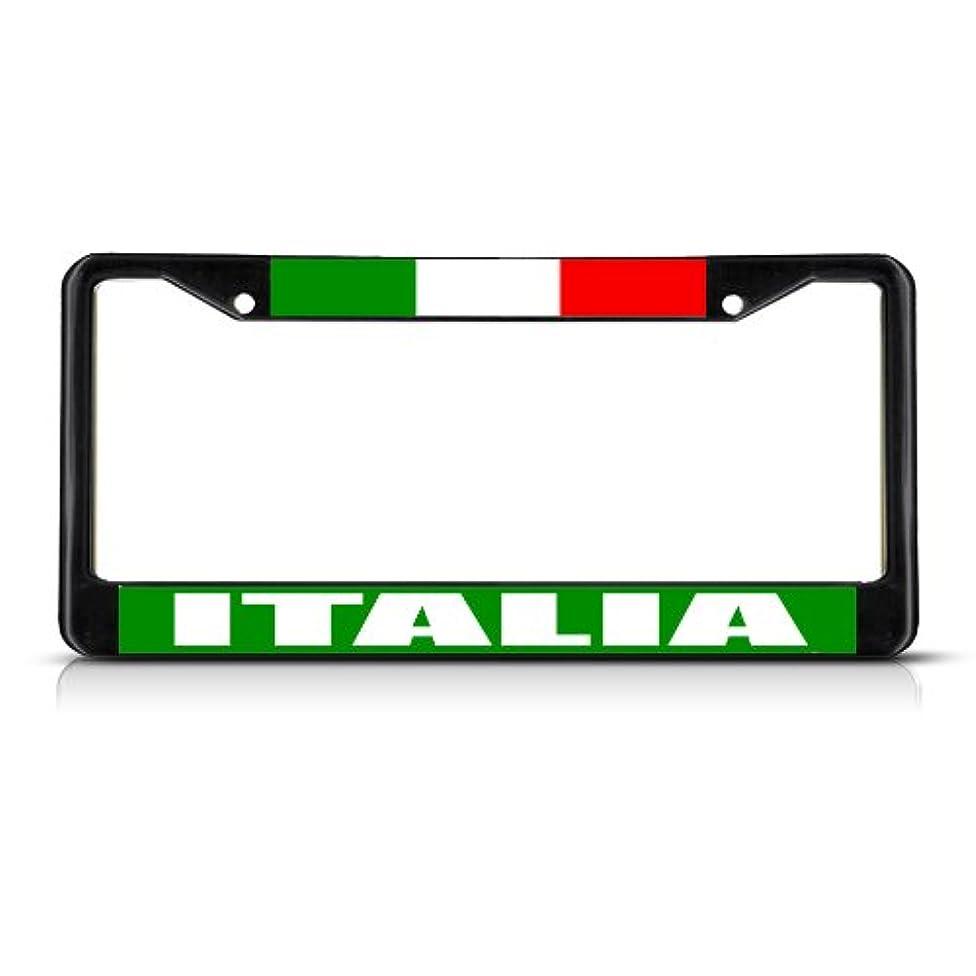Fastasticdeals Italia Italy Flag Black Metal Heavy Duty License Plate Frame Tag Border