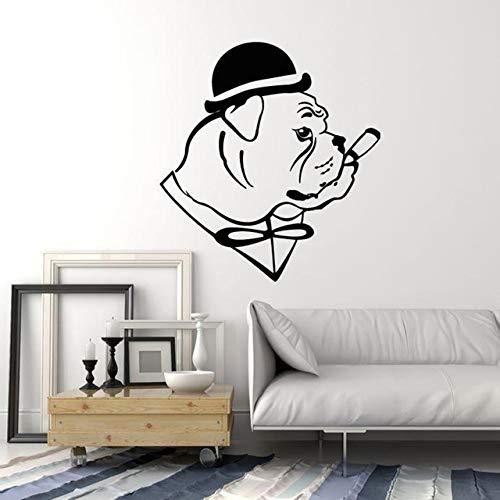 58x63 cm, PVC Applique, Bulldogge Hund In Hut Gentleman Zigarre Pflege Wohnzimmer Aufkleber Malerei Schlafzimmer Home Wandbild Slang Aufkleber Kind Aufkleber Druck Vinyl
