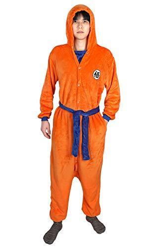 CoolChange Kigurumi de Dragon B, Costume di Son Goku con Scrittura Go, Taglia Unica, Arancio, Taglia: M
