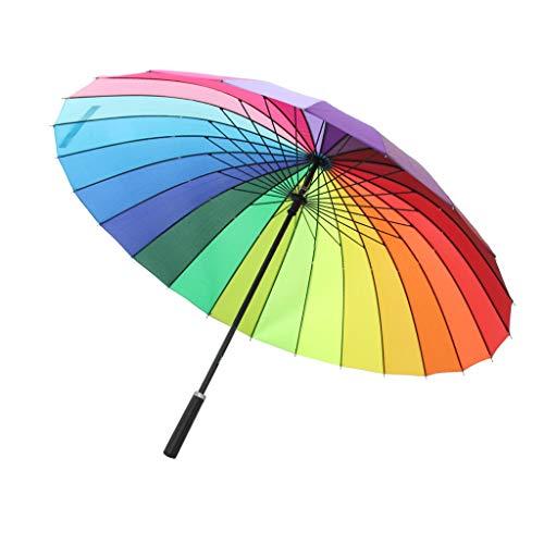 B Baosity Parapluies Pliants Parasol Anti-UV Coupe-vent Arc-en-Ciel Manuel Bâton Poignée Longue