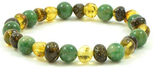 Pulsera ámbar para adultos mezclada con cuentas de jade africano - 18 cm - Color verde - Hecho en banda elástica - (7 pulgadas (18 cm), ámbar verde/jade africano) {0053}