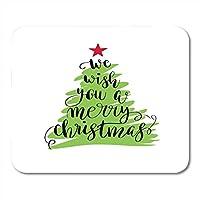 滑り止めファッションマウスパッドパーティーメリークリスマスデザイン書道レタリング引用符レッドスター冬の緑のツリーに引用マット滑り止めファッションマウスパッドノートブックデスクトップコンピューターに適した滑り止めファッションマウスパッド