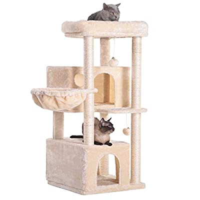Hey-bro 43.3 inches Roomy Cat Tree for Big Cats, Save Space and Large Capacity Cat Condo, Beige MPJ011M