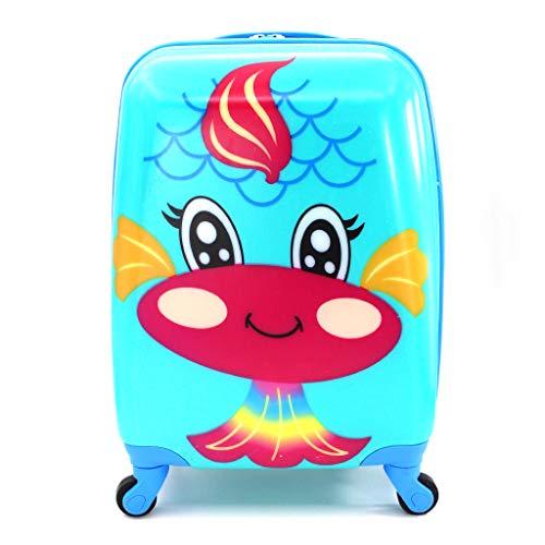 Mleta Infantil de Cabina Trolley Infantil Fantasia Estampados Equipaje de Mano 4 Ruedas giratorias 360 Grados (Sirena)