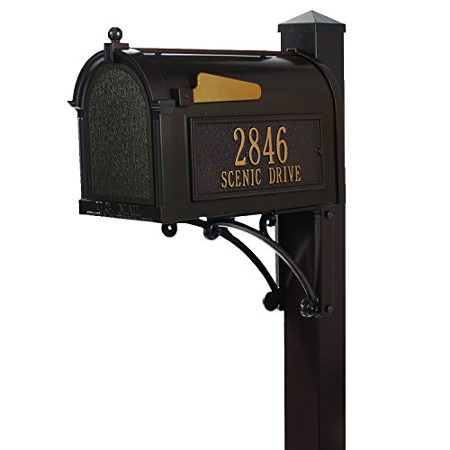 Whitehall Superior Custom Capitol Mailbox - Sand Cast Aluminum Side Mount Mail Box with Post - French Bronze Personalized in Goldtone