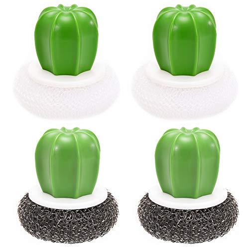 Cepillos De Cocina Cactus Acero Inoxidable De La Bola De Cocina Cepillo Esponja Metálica Limpiadora De Ollas y Cazuelas, Elimina Toda La Suciedad (4 Piezas)