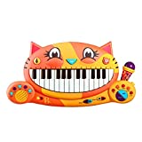 B Toys – Meowsic Toy Piano – Children's Keyboard Musical Instrument with Toy Microphone for Kids 2 Years...