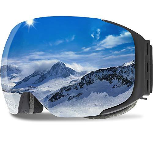 GANZTON Skibrille Anti Fog Snowboardbrille OTG Brillenträger UV-Schutz Snow Snowboard Brille Verspiegelt mit Magnetischer Gläser,Helmkompatible für Damen und Herren,Jungen und Mädchen(Silber)