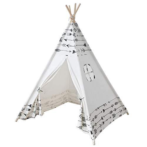 MECHHRE Tipi Spielzelt für Kinder - Segeltuch Kinderzelt - Kinder Zelt Tipi Zelt kinderzimmer spielzelt Junge mädchen Indianer (3.Pfeilmuster)
