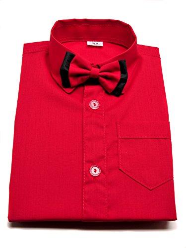 Jungen Hemd Rot mit Fliege und langen Ärmeln Hochzeit Taufe Smart Party Schule Gr. 134 cm, rot