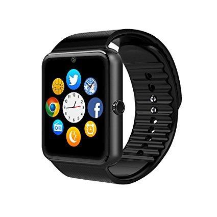 B0791G66LL GT08 - Smart watch con touch screen e bluetooth, dotato di fotocamera, slot per la scheda SIM, funzione contapassi e monitoraggio del sonno, per Samsung Galaxy S6 / S6 PlusEdge / S7 / S7Edge / S8 / S8Plus, HTC, Sony e altri telefoni Android (tutte le funzioni) e per iPhone 5 / 5S / 6 / 6 Plus / 7 / 7 Plus / 8 / 8Plus / X (parte delle funzioni), colore: nero