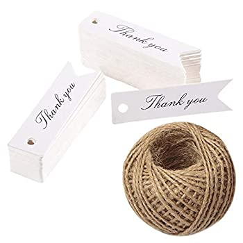 Thank You Tags,Gift Tags,100PCS Paper Tags with 100 Feet Jute Twine,Kraft Tags for DIY Crafts,Wedding,Christmas,Thanksgiving  White