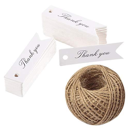 100 pezzi Tag Regalo Etichette in Carta Kraft 7x2 cm con inglese'Thank you', per Bomboniere Compleanno Artigianato, con 30M Spago di Iuta (bianco)