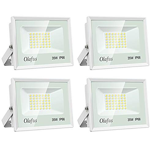 Olafus 4 Pack 35W LED Flood Lights, 3800LM Ultra Bright Floodlight, IP66 Waterproof Outdoor Security Lights, 5000K Daylight White Exterior Lighting for Patio, Backyard, Garden, Porch, Yard