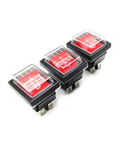 WJUAN ON-OFF Interruptor Basculante a Prueba de Agua DPST4 pin luz roja, con Pantalla LED, AC 250V 125V / 20A 15A (3 piezas), Adecuado Automóviles, Barcos, Motocicletas etc.