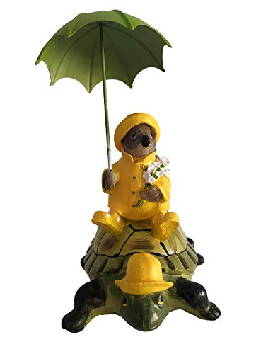 HOMERRY Small Sparrow Bird on a Turtle Figurie in Yellow Raincoats and Umbrellas Statue for Home Decor or Garden Ornament Statue,Resin Animal Figurine Gift