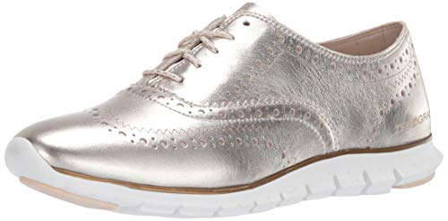 Cole Haan Women's Zerogrand Wing OX Closed Hole Oxford Flat, SOFT GOLD METALLIC LEATHER/OPTIC WHITE, 8.5 M US