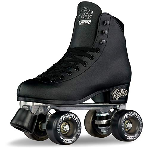 Crazy Skates Retro Roller Skates for Girls and Boys - Black (Sizes 3-6)