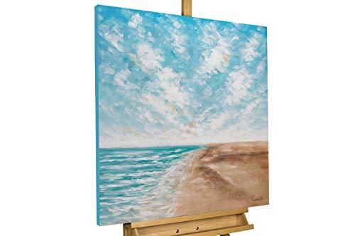 KunstLoft® Peinture Acrylique sur Toile 'Tropical Vibes' 80x80cm | Tableau Acrylique Peint à la Main | Toile sur Cadre en Bois | Plage Mer Bleu Vacances Ciel Bleu