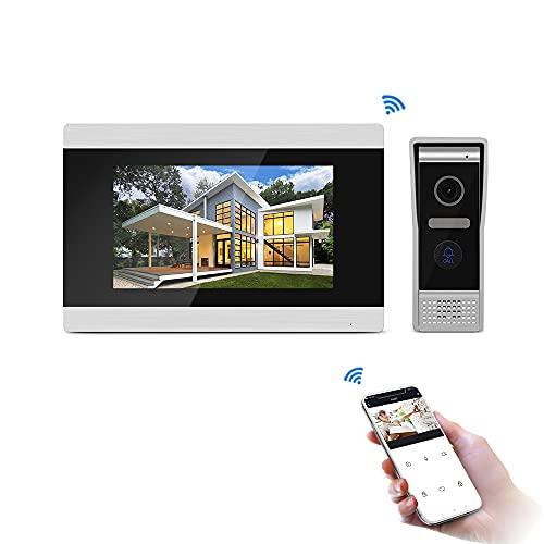 JeaTone Timbre de puerta con vídeo IP con cámara, monitor WiFi de 7 pulgadas, compatible con conversación en tiempo real, visión nocturna, control remoto por aplicación para iOS y Android