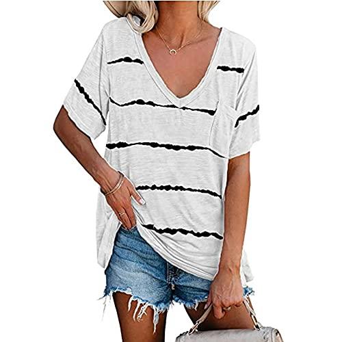 Blusas de verano para mujer con estampado de rayas con cuello en V y bolsillo de manga corta