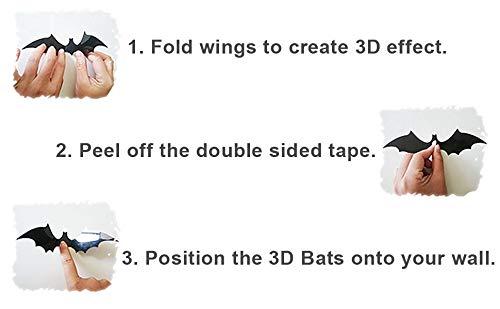 QYY 120 Pezzi Pipistrelli Adesivi 3D della Parete di Halloween Nero Spaventoso Pipistrelli Decalcomanie per Halloween Finestra Decorazioni Interno Cortile Festa Forniture