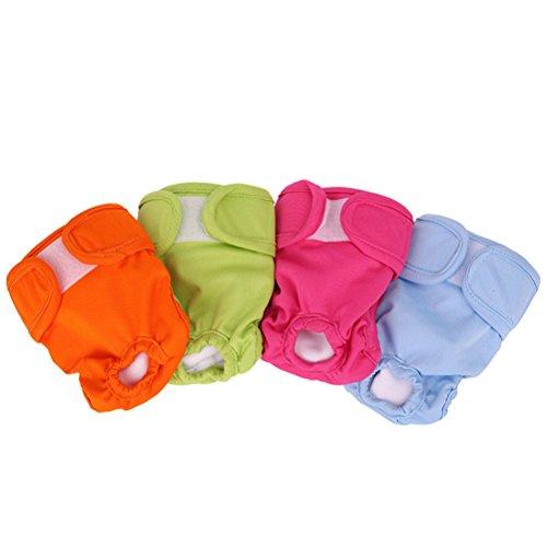 POPETPOP 4pcs Couche-Culotte Sanitaire Chien Chiot Pantalons Physiologiques Femelle Chien avec Magic Tape Taille S
