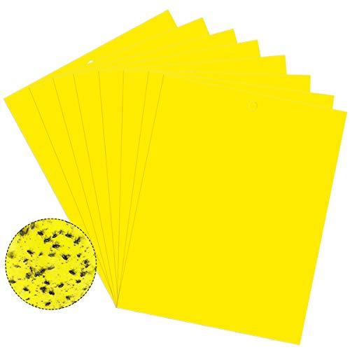 Jinlaili 20 Stück Fliegenfallen Gelbsticker, Fliegenfänger Sticker, Fliegenfalle mit Draht zum Aufhängen, Fliegenfalle Gelbstecker, Doppelseitige Klebrige Insektenfalle für Pflanzeninsekten