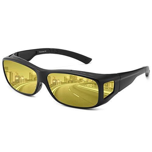 Überzieh Nachtsichtbrille für Autofahrer, für Brillenträger, Anti Glanz HD Polarisierte Nachtbrille für Herren und Damen