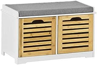 SoBuy FSR23-K-WN 収納ベンチ スツール ベンチチェスト リビング 玄関ベンチ 小物収納 おもちゃ ベンチ 木製